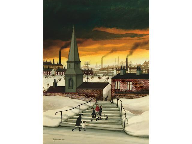 "Brian Shields (Braaq) (20th Century)  ""An Industrial Street Scene""  59.5 x 44cm"