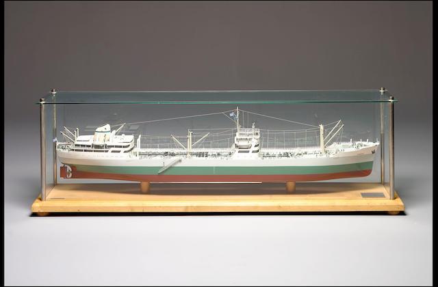 A Builder's Model of the Oil Tanker MV DIOSKUROI 190 x 41 x 60cm.