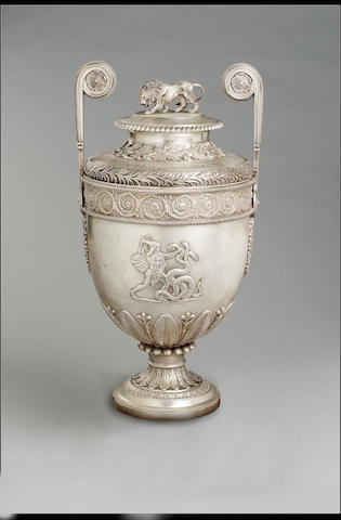 A George III Lloyds Patriotic Fund Vase  by Benjamin Smith and James Smith, London, 1809  54.5 cm. (18 in.) high overall, cover and shoulder 2420 grammes (85.36 oz)