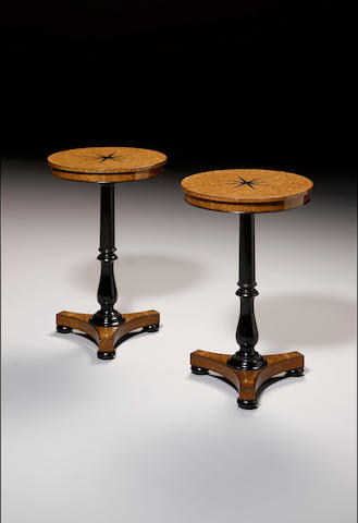 A pair of burr elm and ebonised Occasional Tables