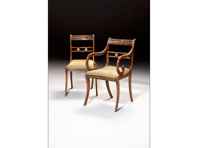 A set of six Regency and four later date rosewood dining chairs including two armchairs