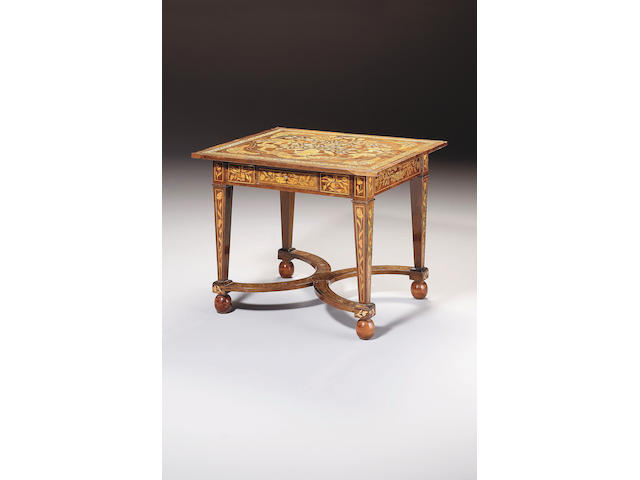 A rosewood and Dutch marquetry side table
