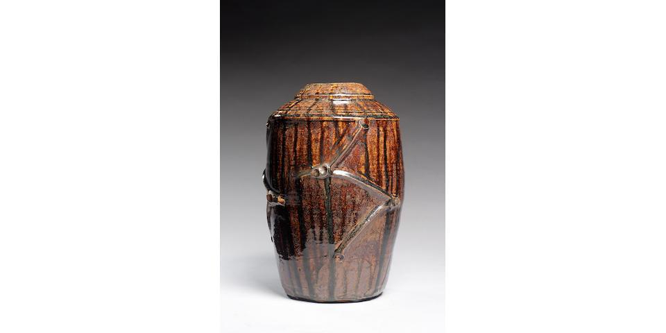 Hamada Shoji a rare barrel-shaped Vase, 1940's Height 12 1/2in. (31.5cm)