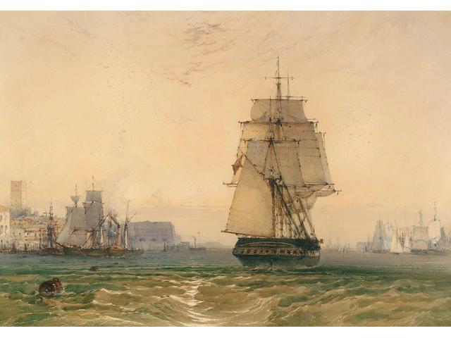 John Callow (British, 1822-1878) A British Frigate making sail out of a Mediterranean port 34.4 x 49.3cm
