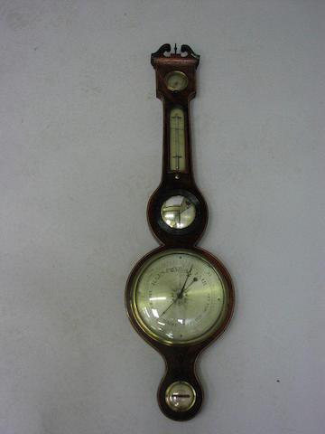 A 19th century mahogany, boxwood and ebony strung wheel barometer,