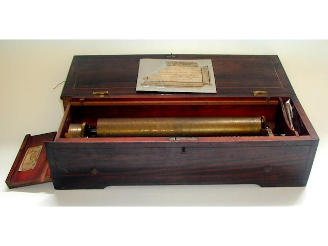 A Metert forte piano key wind musical box,