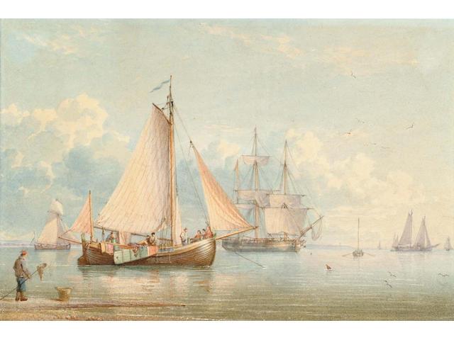 William Joy (British, 1803-1867) Dutch fishing boats at anchor off an estuary 17.3 x 25.7cm