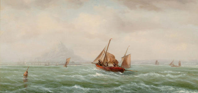 Attributed to Isaac Walter Jenner (British, 1836-1902) Vessels off St. Michaels Mount; Shipping off