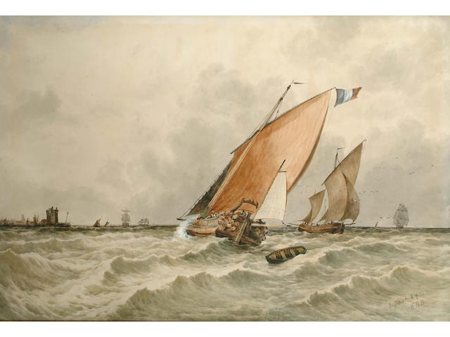William Roxley Beverley (British, 1811-1889) Dogger Bank - Mouth of the Maasinitialled with title inscribed, watercolour