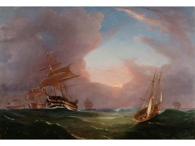De Simone Warships by dusk 46 x 65.1cm