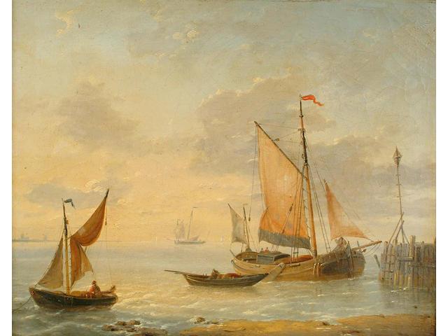 Louis Verboeckhoven (Belgian, 1802-1889) Fishing vessels off a coast 29.2 x 35.8cm