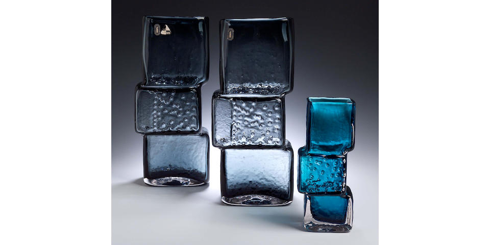 A pair of Whitefriars building block blue glass vases.