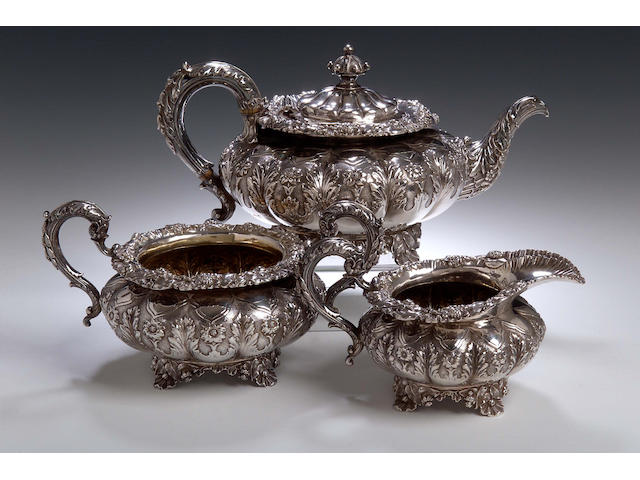 A good George IV three piece tea service, maker's mark of Rebecca Emes and Edward Barnard, London 1827,