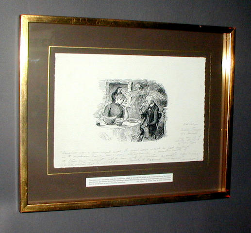 GOLD FRAMED ORIGINAL PEN DRAWING NO.14 BY EDWARD ARDIZONNE ENTITLED 'LUNCHEON WAS A SUCCESSFUL MEAL'