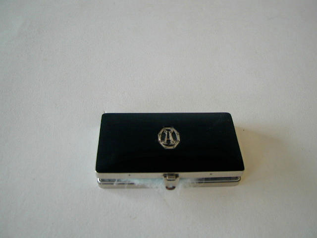 A French chrome and black enamel compact c. 1930