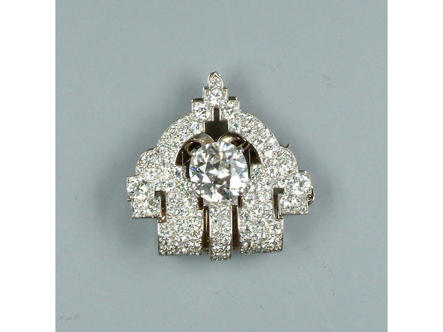 An art deco diamond clip,