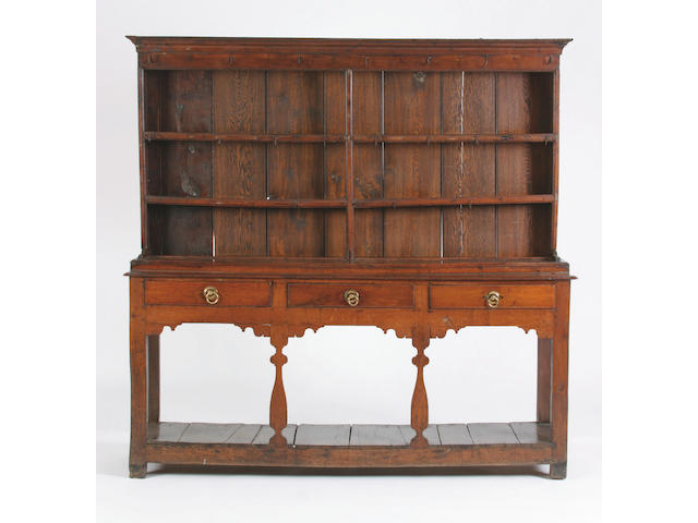 A mid 18th Century high oak dresser, Mid Wales,