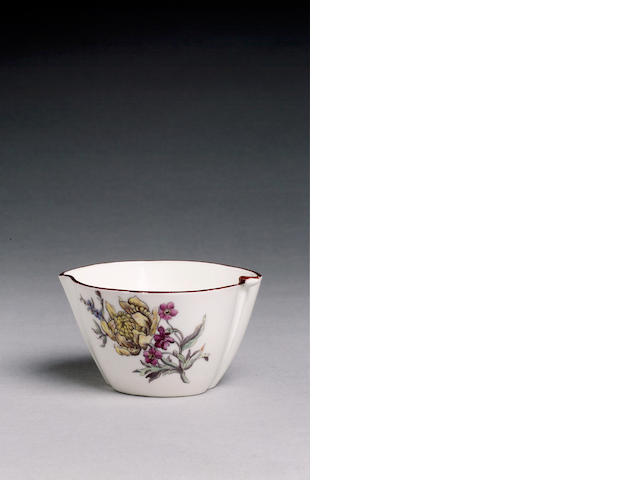 A Chelsea peach shaped bowl painted flowers in Vincennes style, 5.3cm. high