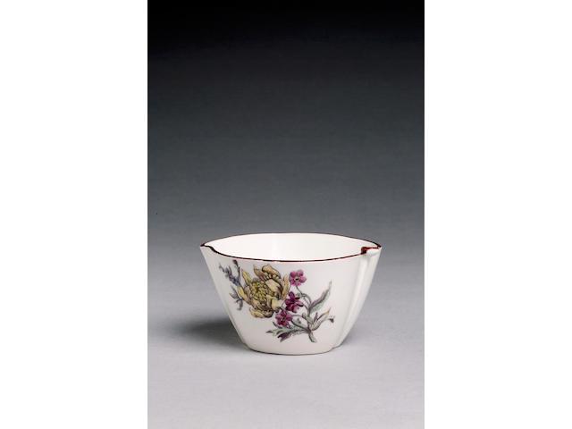 A rare Chelsea peach-shaped bowl or creamboat circa 1750-52