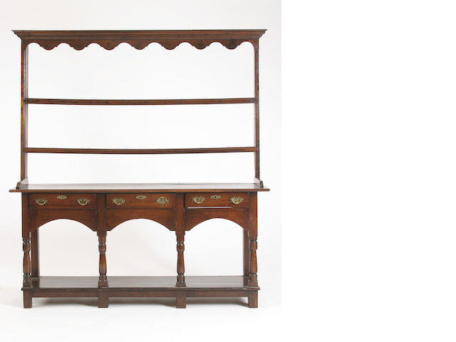 An early 19th Century oak and pine high dresser, South Wales,