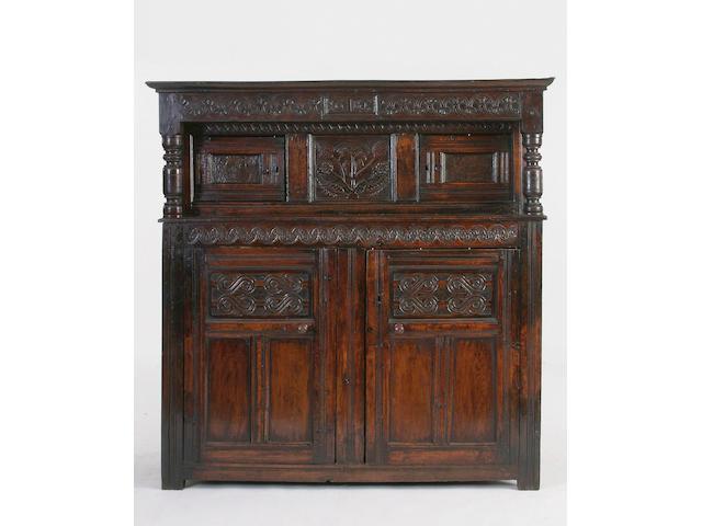 A late 17th century oak court cupboard,