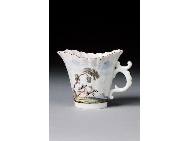 A Chelsea reeded milk jug circa 1750