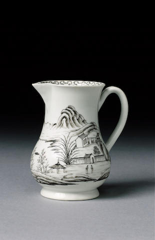 A Worcester sparrow beak jug pencilled in black with a detailed Chinese landscape, 8.7cm. (very fine