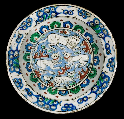 "An Iznik pottery ""Animal"" Dish Turkey, late 16th Century"