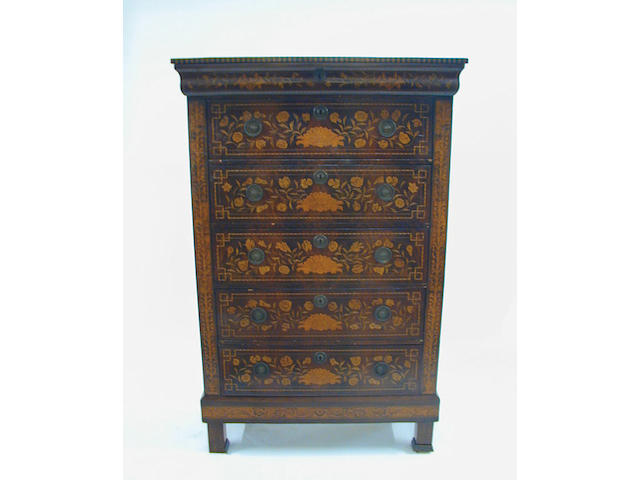 A 19th Century Dutch marquetry tallboy chest, inlaid to the front and sides with birds, urns of flowers, foliage and shells, fitted with a cushion shape frieze drawer above five long drawers, on block feet, 104cm wide.