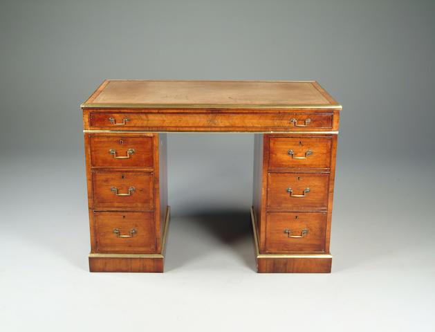 A Victorian rosewood and kingwood pedestal desk