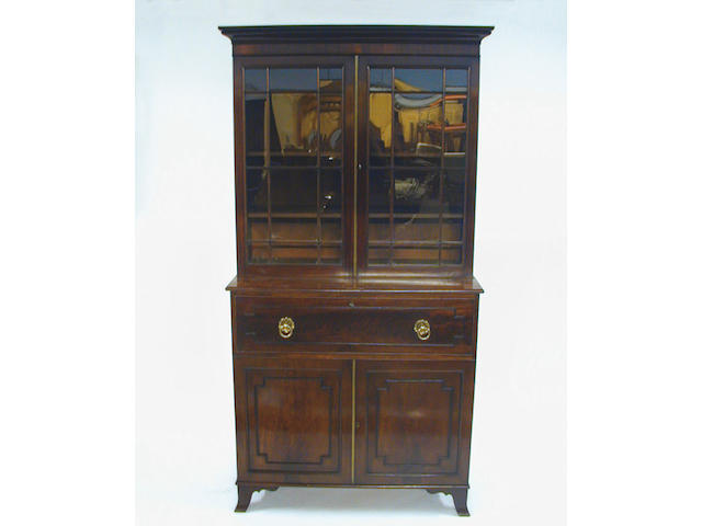 A Regency mahogany secretaire bookcase,