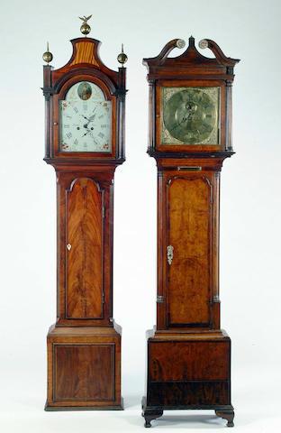 A late George III crossbanded mahogany and satinwood inlaid longcase clock