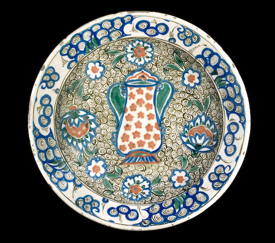 An unusual Iznik pottery Dish Turkey, late 16th Century