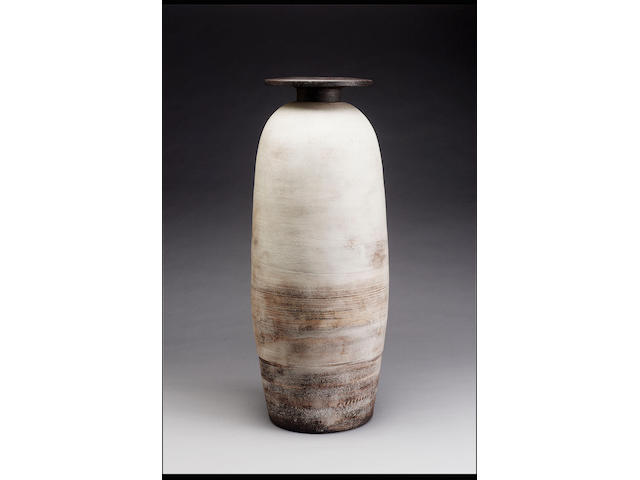 Hans Coper a monumental Vase with disc-top, circa 1972 Height 28 3/4in. (73cm)