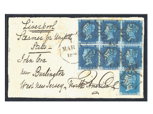 "1840 2d. Plate II: BI-CK block (BK just touched) in a deep shades with plate I single SK used on large part entire from the Cox correspondence, sent from Ipswich to U.S.A, neatly cancelled and additionally tied by American datestamp. B.P.A. Certificate (1996) states  ""cover extensively reinforced, adhesives lifted, treated to reduce staining and replaced"". Still very attractive and rare combination franking to an overseas destination. Ex Daisy. (360)"