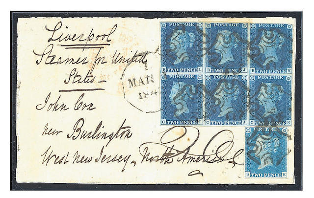 "1840 2d. Plate II: BI-CK block (BK just touched) in a deep shades with plate I single SK used on large part entire from the Cox correspondence, sent from Ipswich to U.S.A, neatly cancelled and additionally tied by American datestamp. B.P.A. Certificate (1996) states  ""cover extensively reinforced, adhesives lifted, treated to reduce staining and replaced"". Still very attractive and rare combination franking to an overseas destination. Ex Daisy."