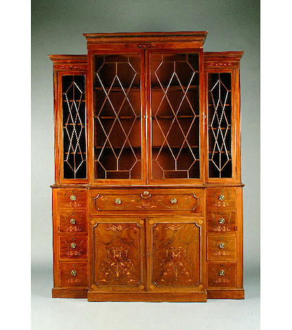 An Edwardian inlaid mahogany breakfront secretaire bookcase 188cm wide, 56cm deep, 257cm high