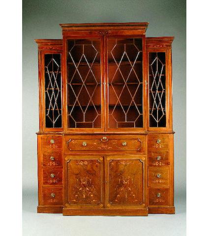 An Edwardian inlaid mahogany breakfront secretaire bookcase 188cm wide, 56cm deep, 257cm high