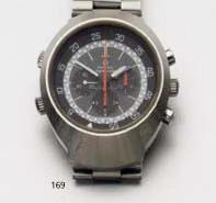 Omega. A stainless chronograph wristwatch 'Flightmaster' 1970S