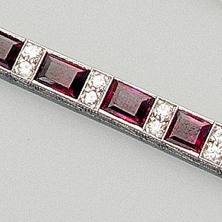 A ruby and diamond line bracelet
