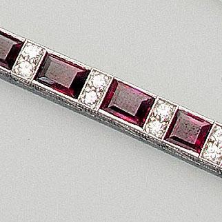 A ruby and diamond line bracelet