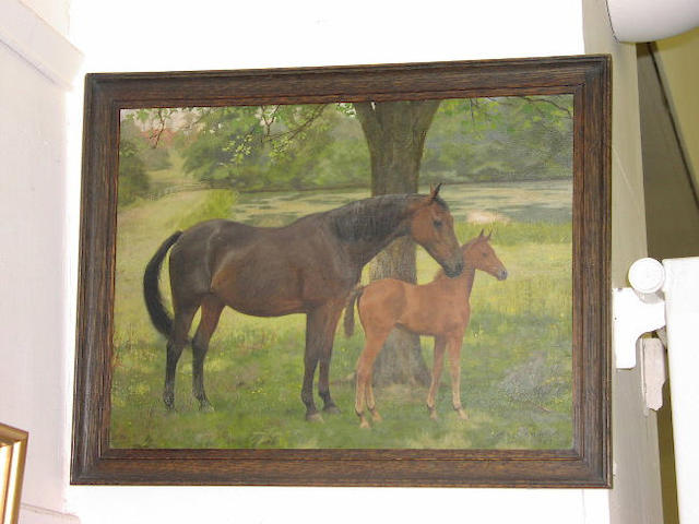Florence Mabel Hollams (1877-1963), A bay mare with chestnut foal standing under a tree in a sunlit landscape, signed and dated 1926, oil on panel, 33 x 44cm. See Illustration