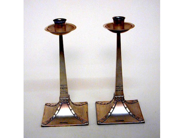 Golfing Interest - A pair of Edwardian candlesticks, by J. Dixon & Sons, Sheffield, 1904,