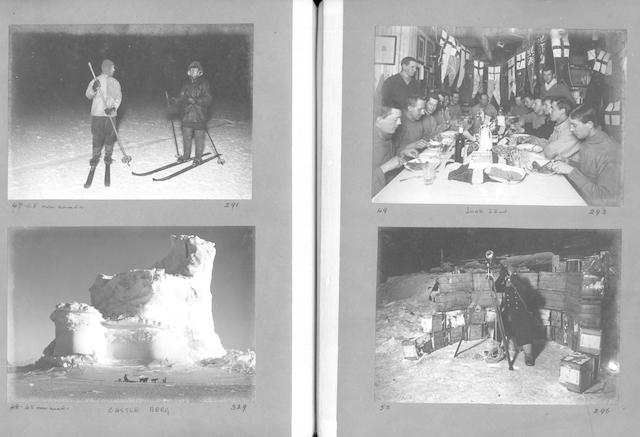 ANTARCTIC, BRITISH ANTARCTIC EXPEDITION, 1910-13 PONTING (HERBERT GEORGE) An album containing 108 silver gelatin contact prints by Ponting, together with photographic prints of 5 maps illustrative of the expedition and a further print to represent the stamps and franks used by the expedition