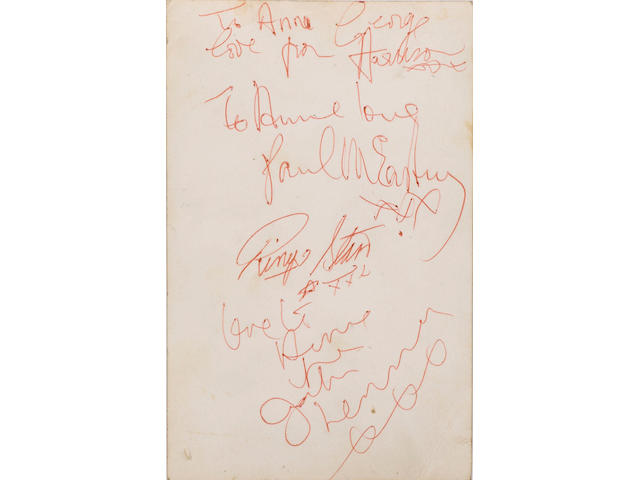 An autographed photograph of The Beatles 1962