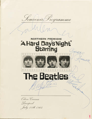 'A Hard Day's Night' Souvenir Programme autographed by The Beatles Odeon Cinema, Liverpool, July 10th 1964