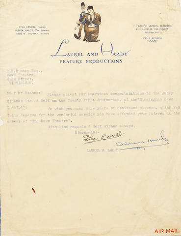 A letter autographed by Laurel and Hardy 1952