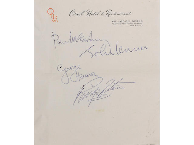 Autographs of The Beatles Oriel Hotel, Abingdon, Berkshire, November 17th 1963