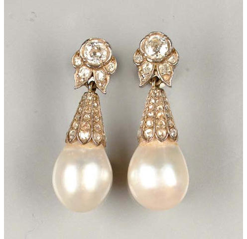 A pair of late 19th century pearl and diamond pendant earrings