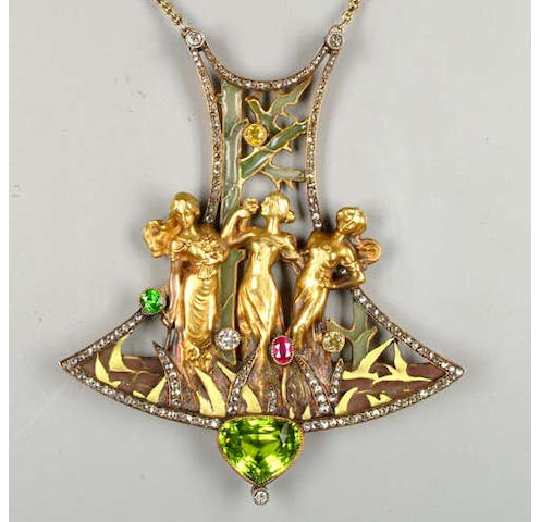An Art Nouveau enamel and gem set pendant by Joe Descompes,
